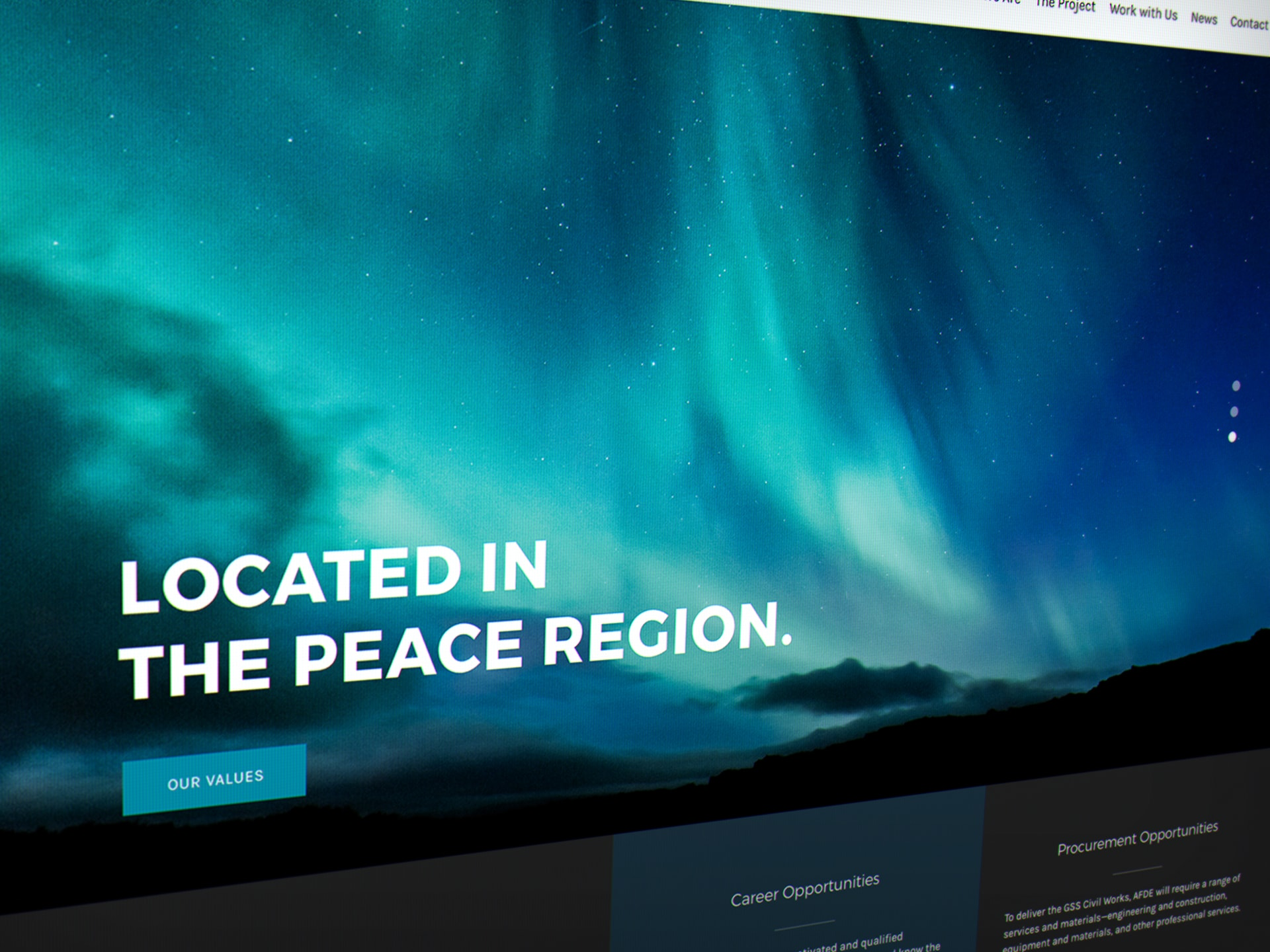 AFDE homepage slide showing the Peace River northern lights