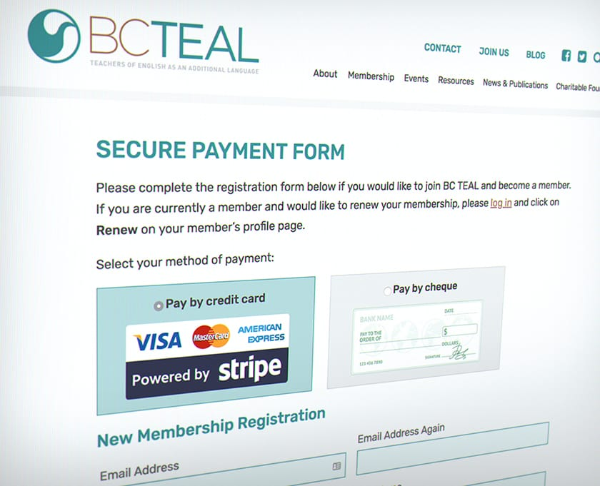 BC TEAL secure payment form