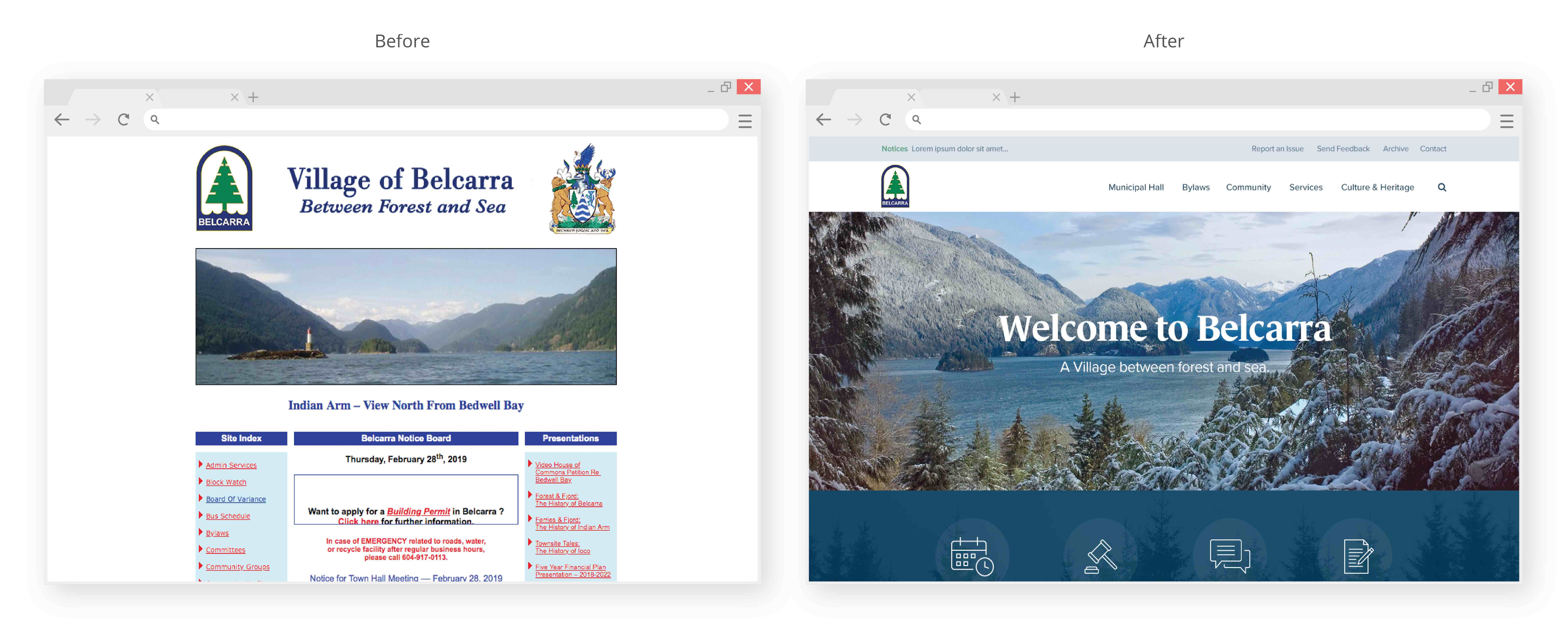 Village of Belcarra municipal website before and after
