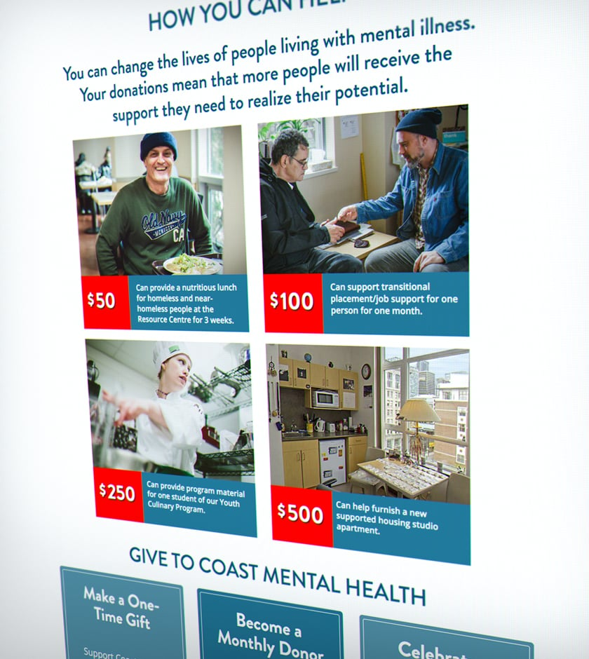 Coast Mental Health – Donation page feature boxes