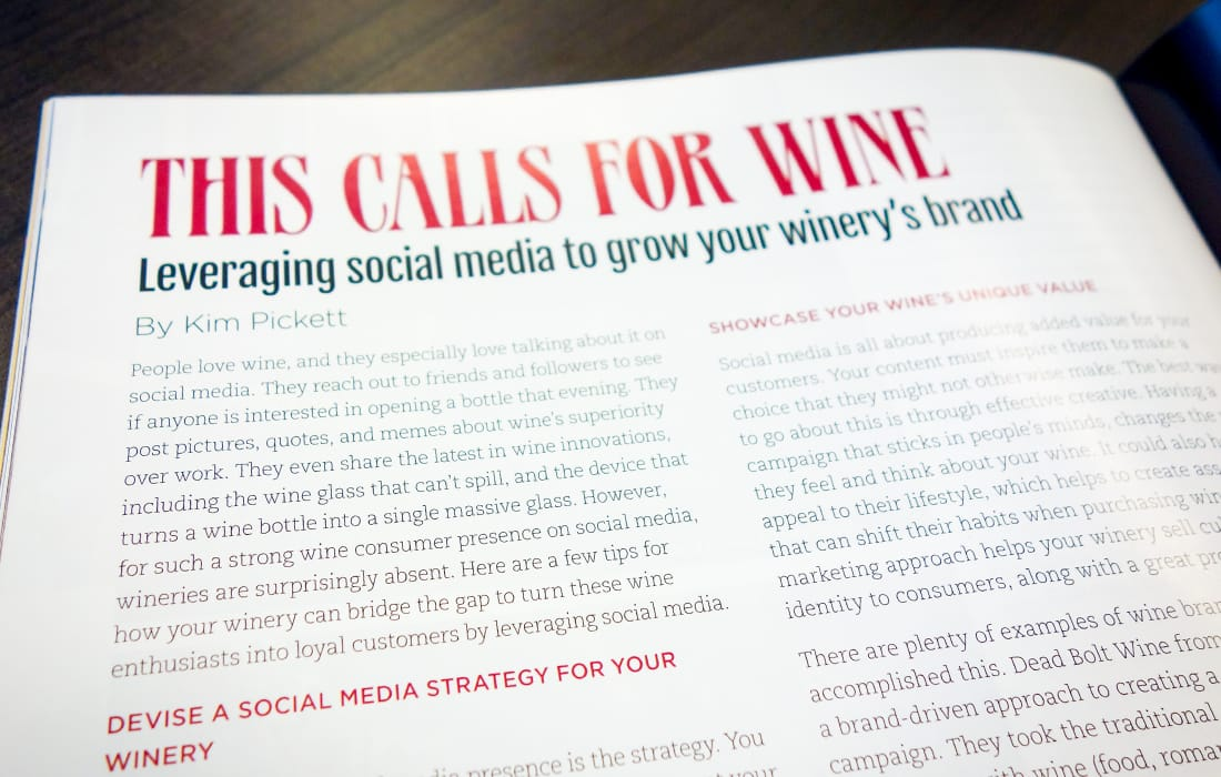 Kim Pickett Guest Column for Crush Magazine: Leveraging Social Media To Grow Your Winery's Brand