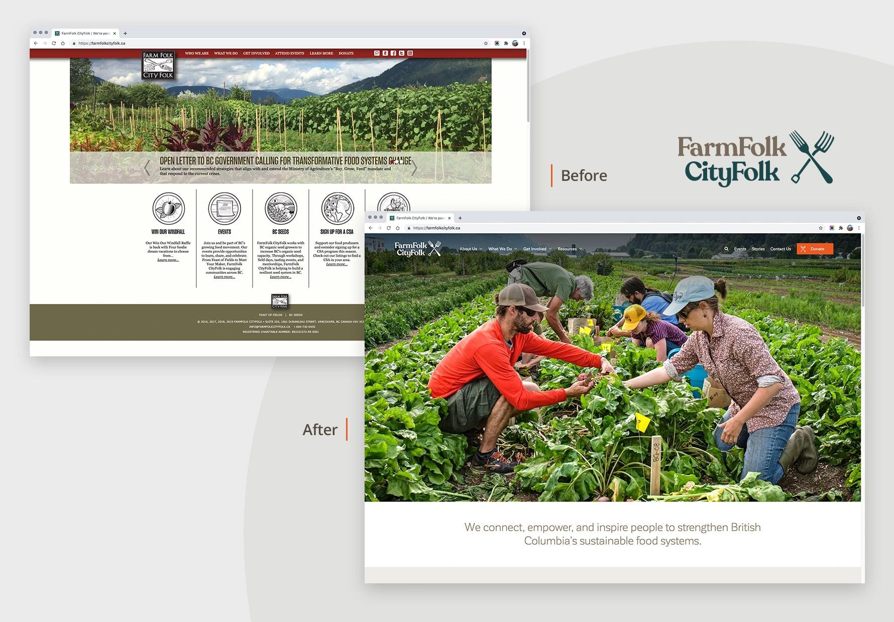 FarmFolk CityFolk websites - before & after