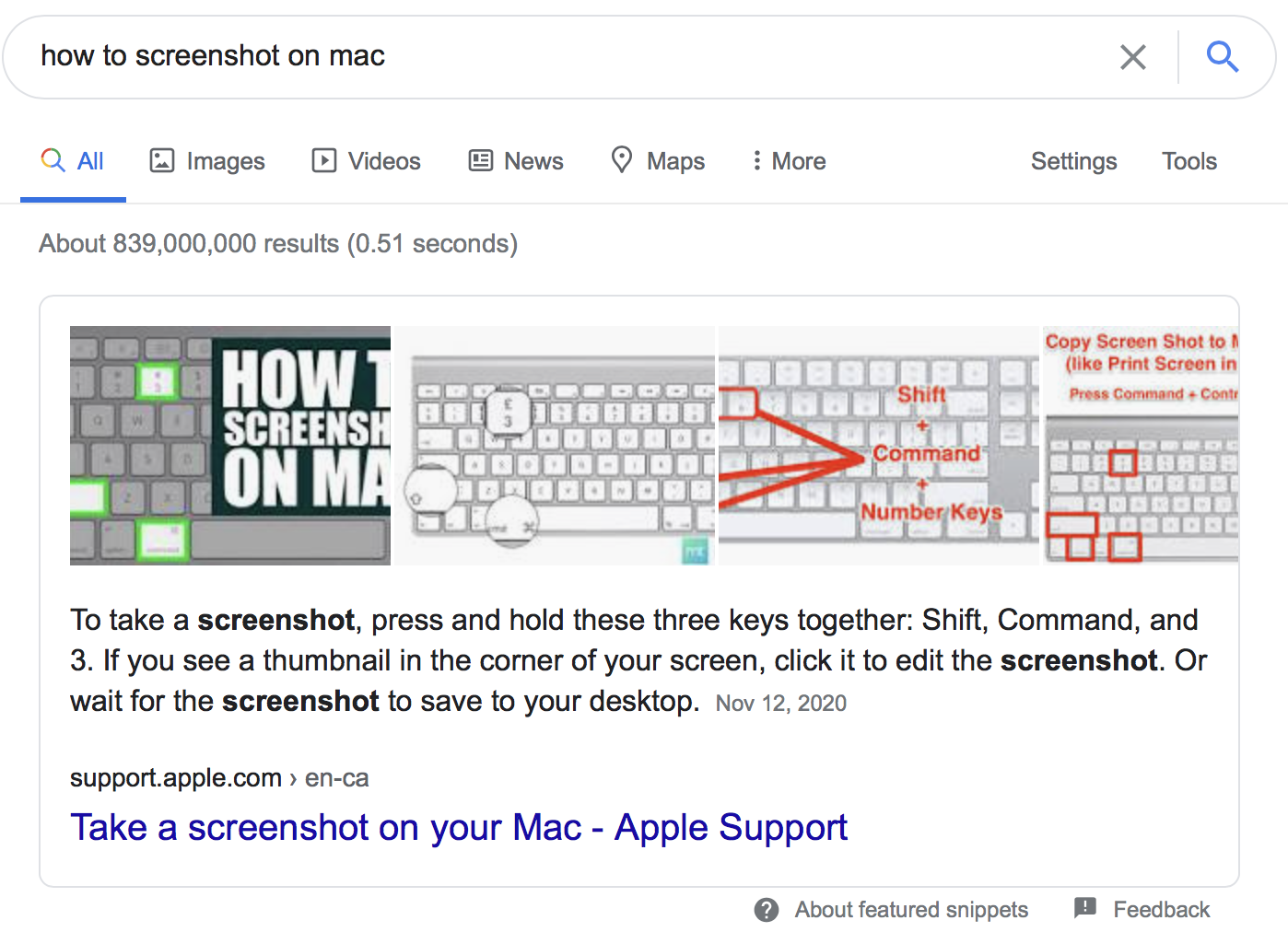 Featured snippets example of how to screenshot on a mac to help inclusive branding