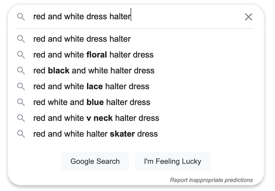 Using the search bar on Google and wrote red & white dress halter
