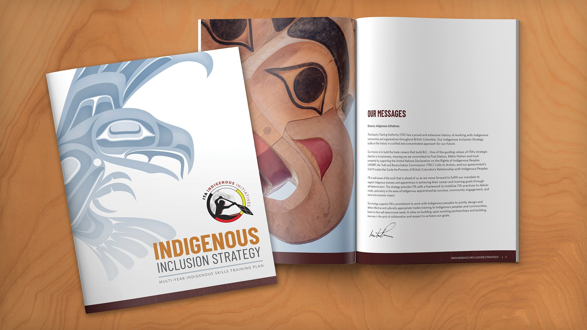 Industry Training Authority - Indigenous Initiatives Inclusion Strategy cover and spread