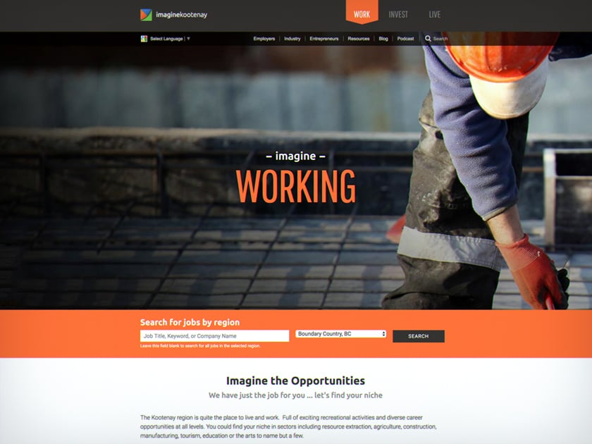 Imagine Kootenay Working page