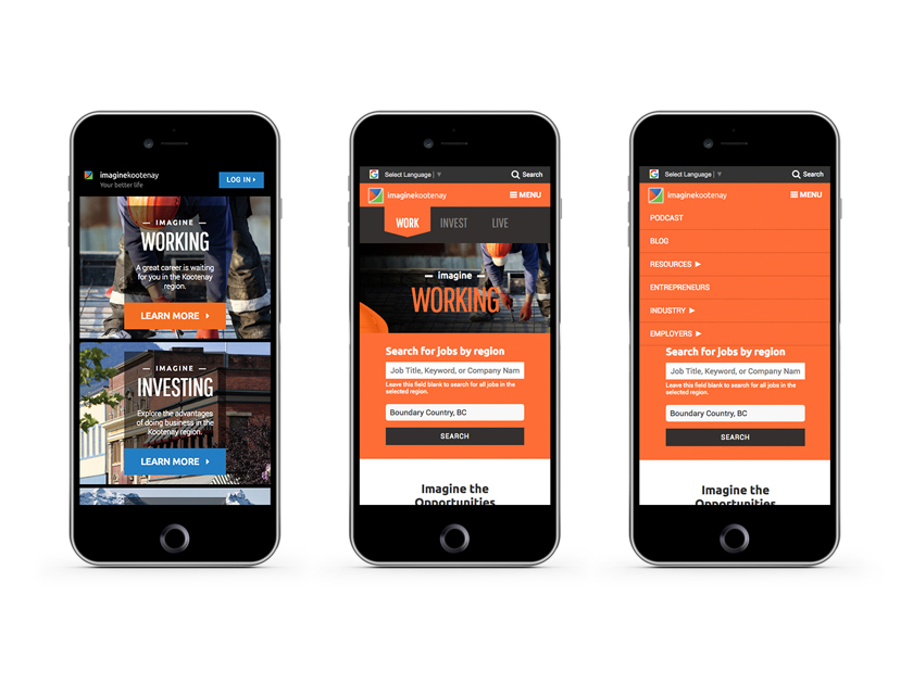 Imagine Kootenay mobile mockups