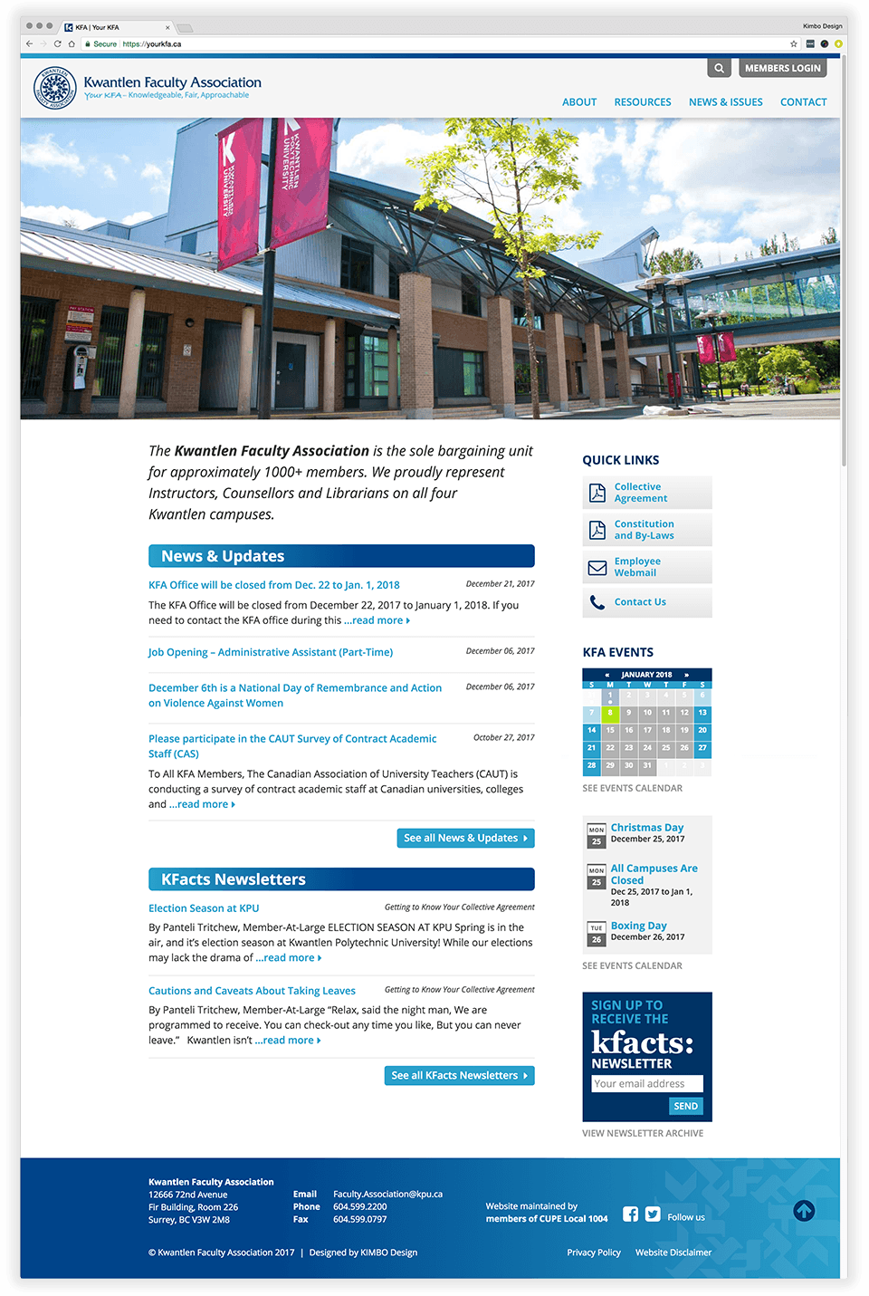Kwantlen Faculty Association KFA website front page full preview