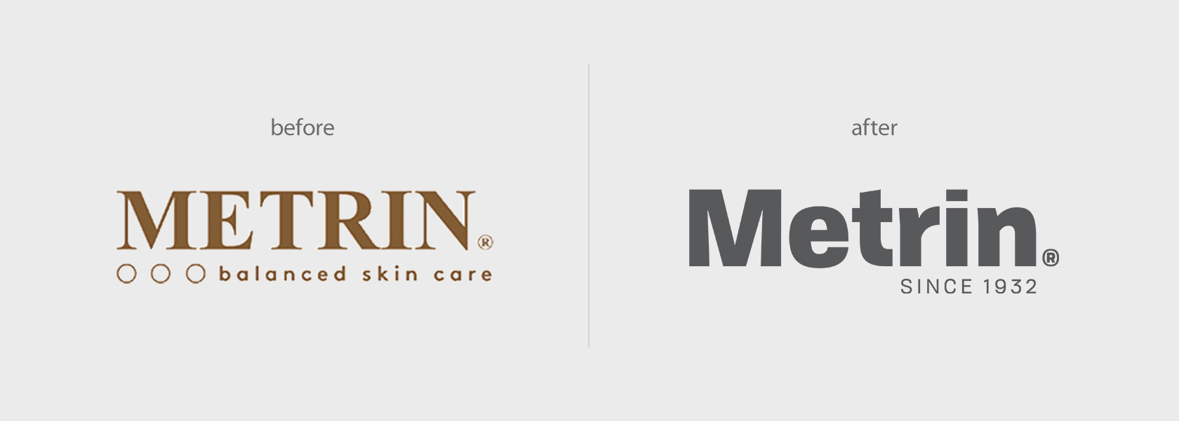 Metrin Skincare logo before & after