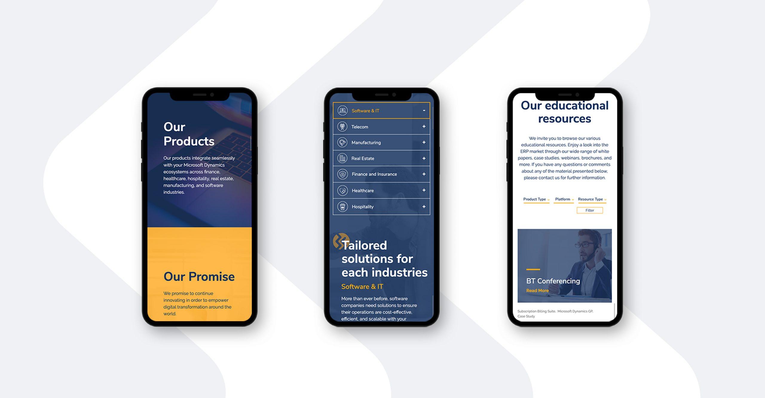 Binary Stream website mobile screens