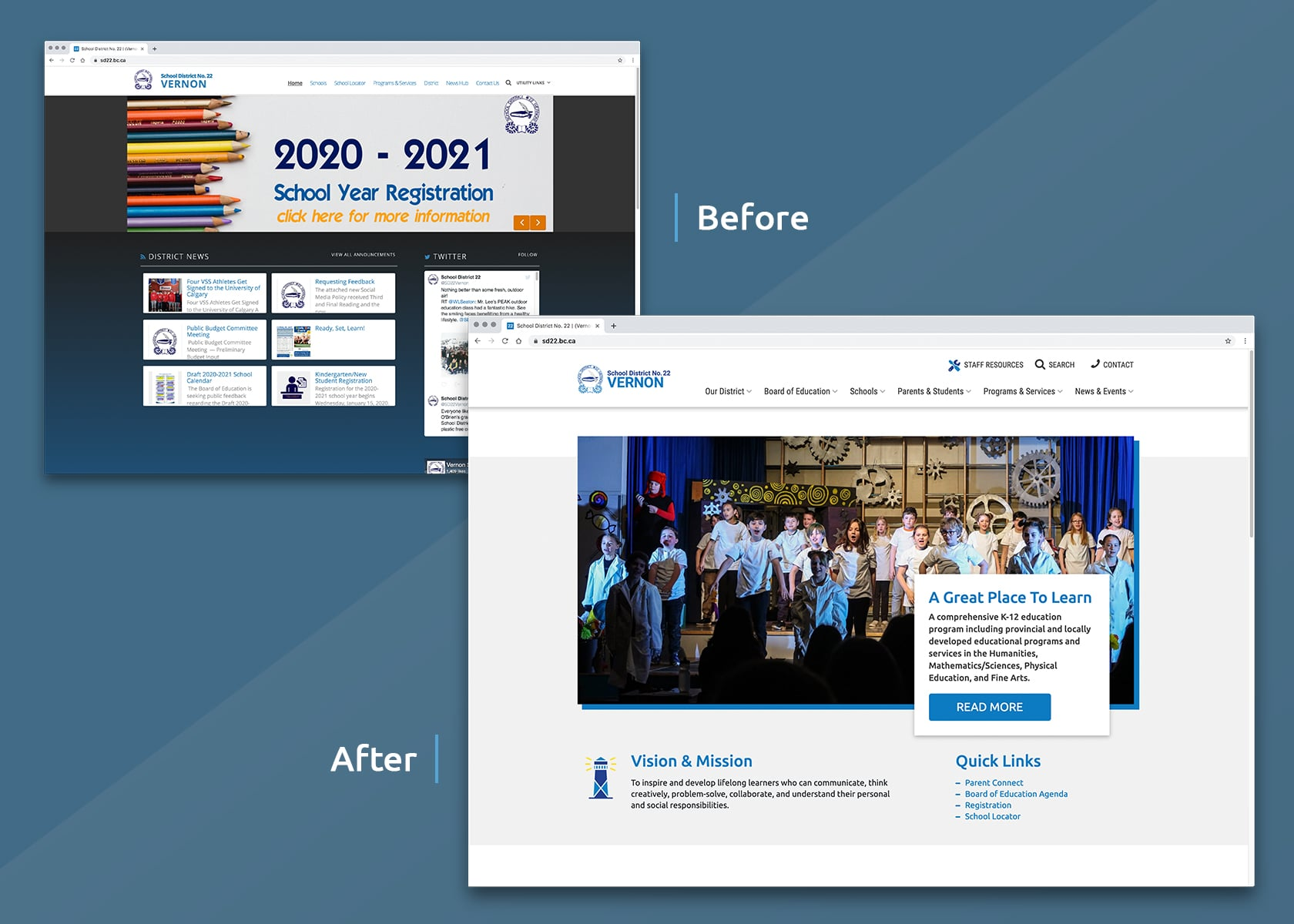 School District 22 Vernon website before & after