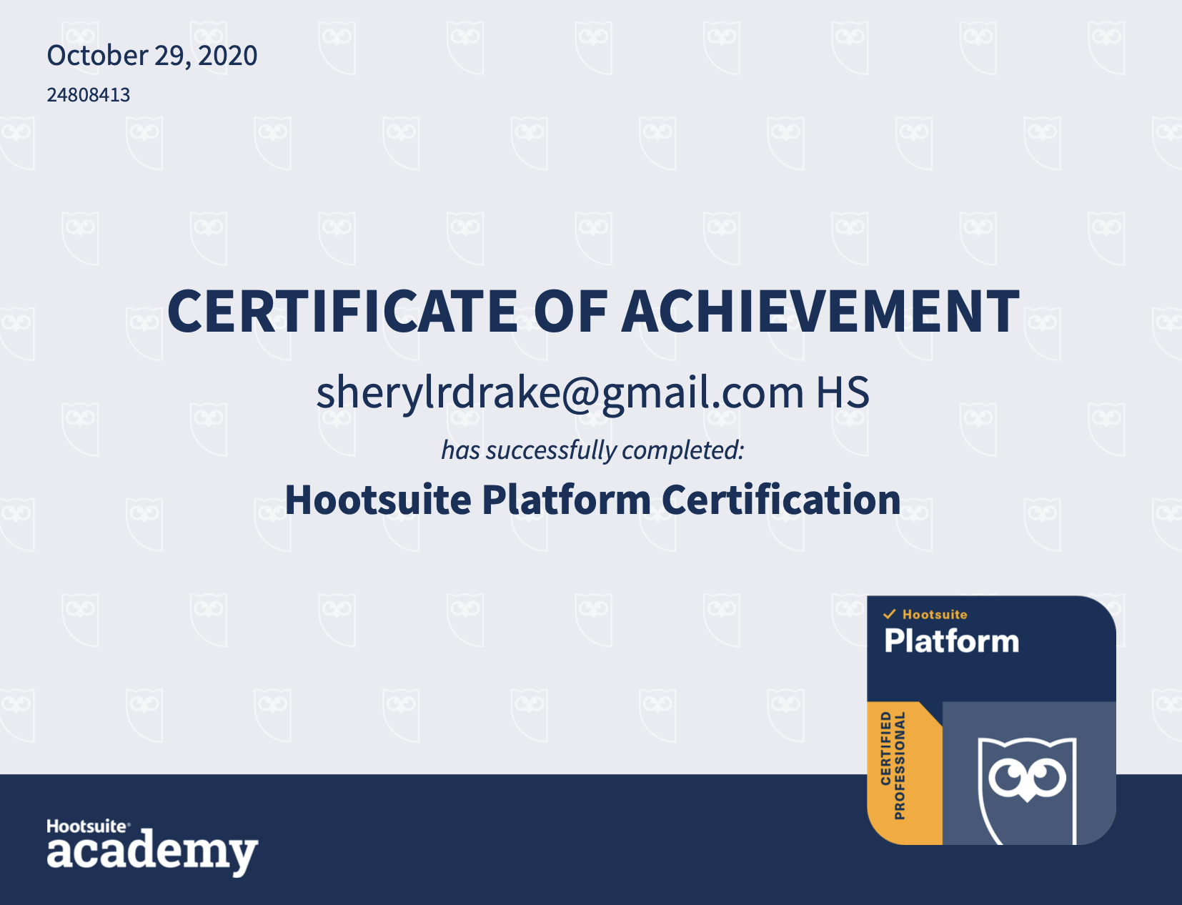 Sheryl's Hootsuite Certification