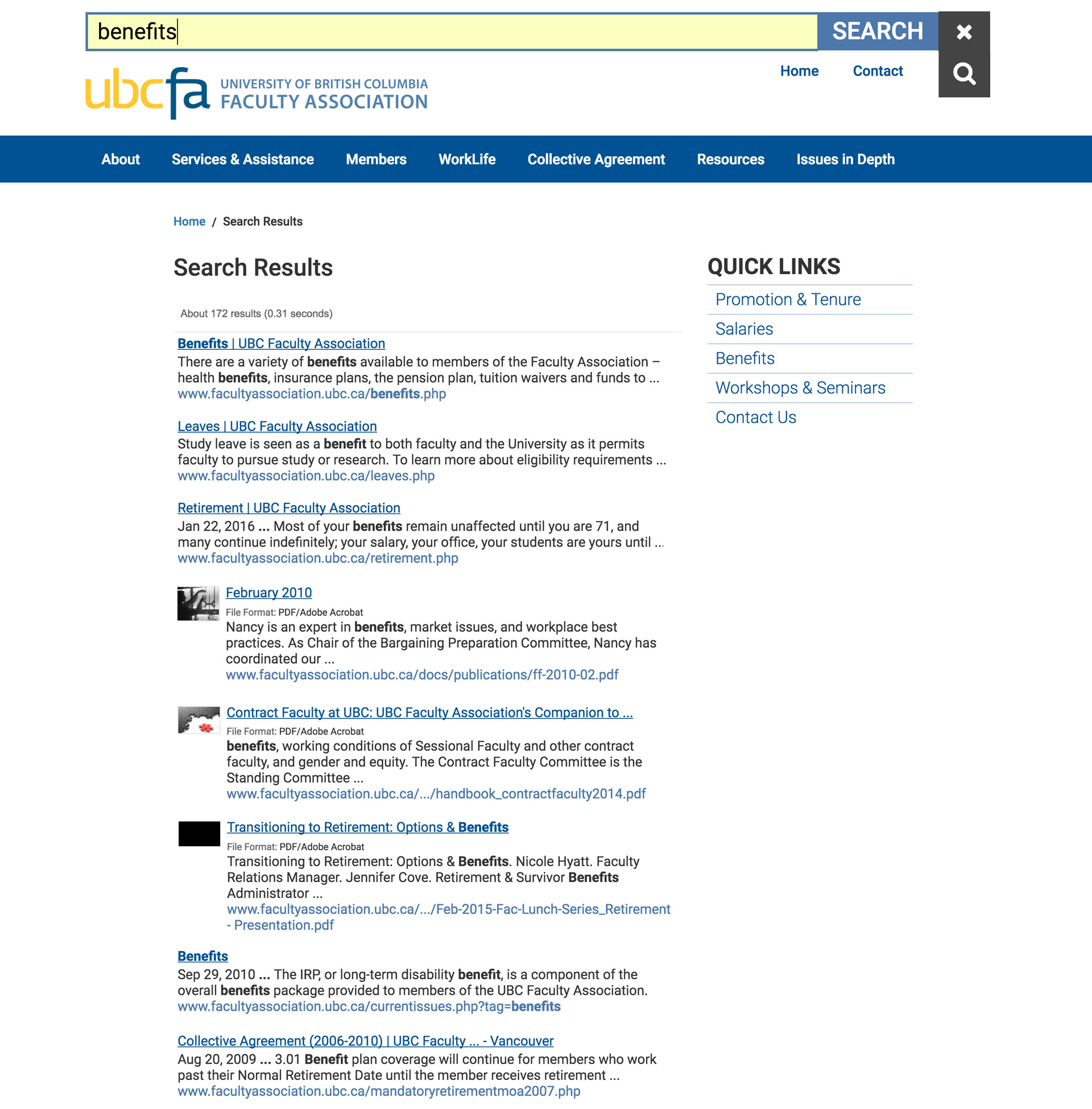 Search results inside PDFs