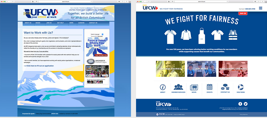 UFCW 1518 rebrand website